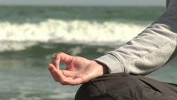 Woman Meditating on Beach Footage