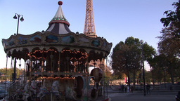 Carousel In Front Of Eiffel Tower stock footage