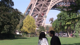 Two People looking at Eiffel Tower Live Action