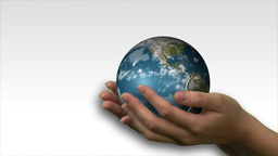 Woman holding a 3d Earth Render Footage