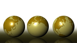 Three Brown Globes Rotating Animation