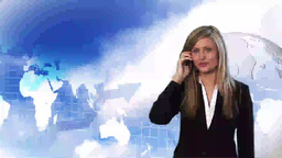 Happy young businesswoman talking making a call Animation