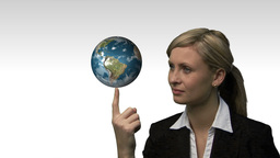 Businesswoman with the earth spinning in her hands Animation