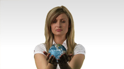 Businesswoman with the world in her hands Animation