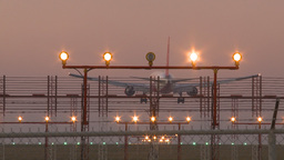 HD2009-9-35-5 Airbus laning lights fence runway Stock Video Footage