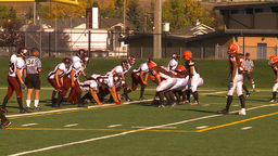 HD2009-9-36-15 high school football huddle QB run TD Stock Video Footage
