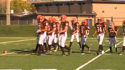 HD2009-9-36-17 high school football huddle run TD Stock Video Footage