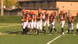 HD2009-9-36-17 High School Football Huddle Run TD stock footage