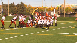 HD2009-9-36-19 high school football huddle run TD Stock Video Footage