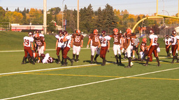 HD2009-9-36-19 high school football huddle run TD Stock Video Footage