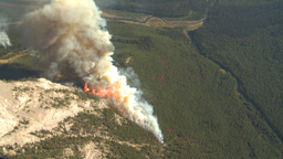 HD2009-9-37-11 Forest fire big flames aerial spectacular Stock Video Footage