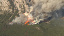 HD2009-9-37-13 Forest fire big flames aerial spectacular Stock Video Footage