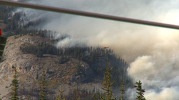 HD2009-9-39-14 forest fire heavy smoke follow distand helo Footage