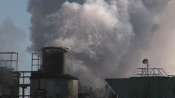 HD2008 winter 2 smoke stacks cold Stock Video Footage