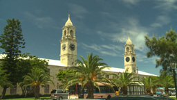 HD2008-8-12-56 Bermuda old town traffic clock tower Stock Video Footage