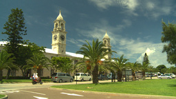 HD2008-8-12-58 Bermuda old town traffic clock tower Stock Video Footage