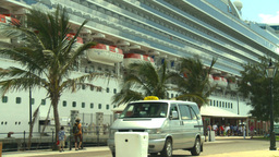 HD2008-8-13-10 tourists and cruise ship Stock Video Footage
