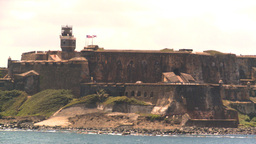 HD2008-8-13-36 San Juan fort from ocean Stock Video Footage