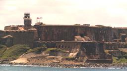 HD2008-8-13-36 San Juan fort from ocean Stock Video Footage