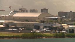 HD2008-8-14-4 San Juan airport commuter aircraft landing Stock Video Footage