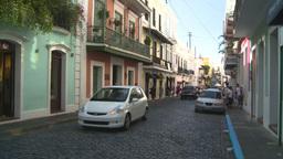 HD2008-8-14-36 San Juan old town traffic cobblestone Stock Video Footage