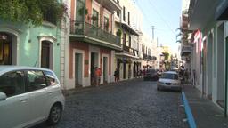HD2008-8-14-36 San Juan old town traffic cobblestone Footage
