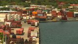 HD2008-8-16-4 StThomas Harbor Containor Port stock footage
