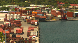 HD2008-8-16-4 StThomas harbor containor port Stock Video Footage