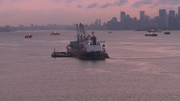 HD2008-8-17-27 dawn NYC harbor Stock Video Footage