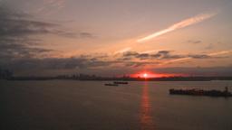 HD2008-8-17-37 sunrise NYC harbor Footage