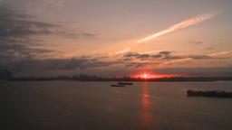 HD2008-8-17-37 sunrise NYC harbor Stock Video Footage