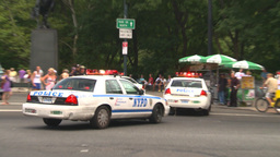 HD2008-8-17-41b NYC many police cars Stock Video Footage