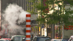 HD2008-8-17-49 NYC traffic steam pipe Stock Video Footage