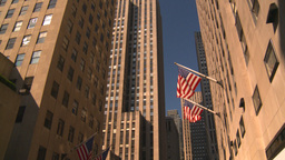 HD2008-8-18-11 NYC bdgs and flags tilt up an down Stock Video Footage