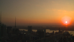 HD2008-8-18-42 NYC from 30 rock skyscrapers sunset Stock Video Footage