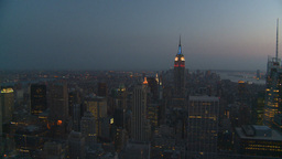 HD2008-8-18-46 NYC Empire state from 30 rock after dark Stock Video Footage