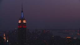 HD2008-8-18-50 NYC Empire state from 30 rock after dark Stock Video Footage