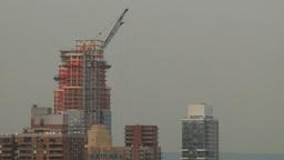HD2008-8-19-23 city scape constr crane aerial Stock Video Footage