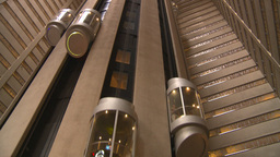 HD2008-8-19-27 indoor glass elevators Stock Video Footage