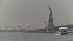 HD2008-8-19-41 statue liberty industrial boat Footage