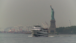 HD2008-8-19-41 statue liberty industrial boat Stock Video Footage