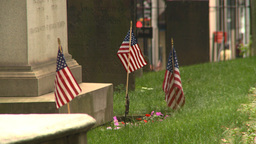US flags cemetery tombstone Footage