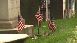 US flags cemetery tombstone Stock Video Footage