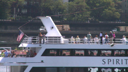 NYC waterfront traffic boat Stock Video Footage