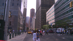 NYC wall street financial district pan Footage