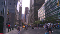 NYC wall street financial district pan Stock Video Footage