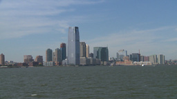 NYC ferry ride look at Jersey city Stock Video Footage