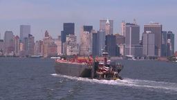 NYC ferry ride barge tug Stock Video Footage