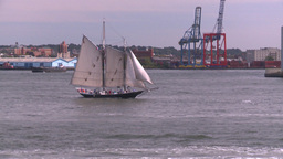 NYC ferry ride NY chinese junk Stock Video Footage