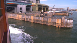 NYC ferry ride coming into terminal Stock Video Footage